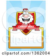 Clipart Of A Santa Christmas Shield Over A Blank Sign And Blue Rays Royalty Free Vector Illustration