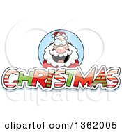 Santa Claus Over Patterned Christmas Text