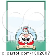 Christmas Santa On A Green Page With Text Space