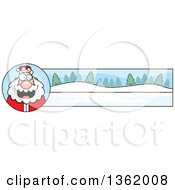 Clipart Of A Santa And Winter Landscape Christmas Banner Royalty Free Vector Illustration by Cory Thoman