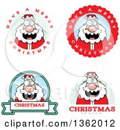 Clipart Of Santa Christmas Badges Royalty Free Vector Illustration by Cory Thoman