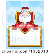 Clipart Of A Santa Claus Christmas Shield Over A Blank Sign And Blue Rays Royalty Free Vector Illustration by Cory Thoman