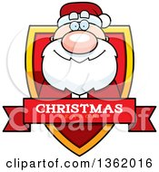 Clipart Of A Santa Claus On A Shield With A Christmas Season Text Banner Royalty Free Vector Illustration