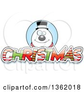 Clipart Of A Snowman Over Patterned Christmas Text Royalty Free Vector Illustration