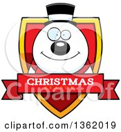 Clipart Of A Snowman On A Shield With A Christmas Season Text Banner Royalty Free Vector Illustration