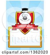 Clipart Of A Snowman Christmas Shield Over A Blank Sign And Blue Rays Royalty Free Vector Illustration