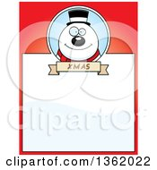 Clipart Of A Christmas Snowman On A Red Page With Text Space Royalty Free Vector Illustration