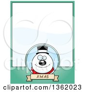 Clipart Of A Christmas Snowman On A Green Page With Text Space Royalty Free Vector Illustration