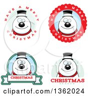 Clipart Of Snowman Christmas Badges Royalty Free Vector Illustration by Cory Thoman