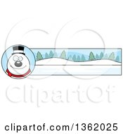 Clipart Of A Snowman And Winter Landscape Christmas Banner Royalty Free Vector Illustration