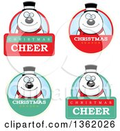 Clipart Of Snowman Christmas Badges Royalty Free Vector Illustration