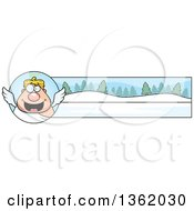Clipart Of A Chubby Male Angel And Winter Landscape Christmas Banner Royalty Free Vector Illustration by Cory Thoman