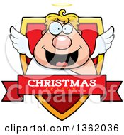Clipart Of A Chubby Male Angel On A Shield With A Christmas Season Text Banner Royalty Free Vector Illustration