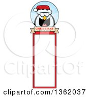Clipart Of A Penguin Christmas Bookmark Design Royalty Free Vector Illustration by Cory Thoman