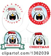 Clipart Of Penguin Christmas Badges Royalty Free Vector Illustration