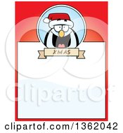 Clipart Of A Christmas Penguin On A Red Page With Text Space Royalty Free Vector Illustration by Cory Thoman