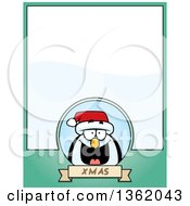 Clipart Of A Christmas Penguin On A Green Page With Text Space Royalty Free Vector Illustration by Cory Thoman