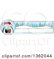 Clipart Of A Penguin And Winter Landscape Christmas Banner Royalty Free Vector Illustration