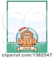 Clipart Of A Gingerbread Cookie On A Green Page With Text Space Royalty Free Vector Illustration