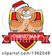 Clipart Of A Gingerbread Cookie Man On A Shield With A Christmas Season Text Banner Royalty Free Vector Illustration