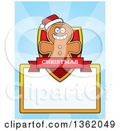 Clipart Of A Gingerbread Cookie Man Christmas Shield Over A Blank Sign And Blue Rays Royalty Free Vector Illustration by Cory Thoman