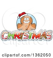 Clipart Of A Gingerbread Cookie Over Patterned Christmas Text Royalty Free Vector Illustration by Cory Thoman
