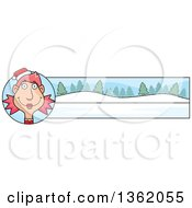 Clipart Of A Female Christmas Elf And Winter Landscape Banner Royalty Free Vector Illustration