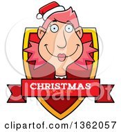 Clipart Of A Female Christmas Elf Shield With A Christmas Season Banner Royalty Free Vector Illustration