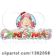 Clipart Of A Female Elf Over Patterned Christmas Text Royalty Free Vector Illustration