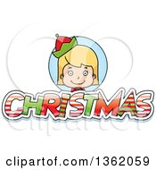 Clipart Of A Girl Elf Over Patterned Christmas Text Royalty Free Vector Illustration
