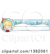 Clipart Of A Girl Christmas Elf And Winter Landscape Banner Royalty Free Vector Illustration