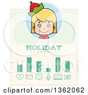 Clipart Of A Girl Christmas Elf Holiday Schedule Design Royalty Free Vector Illustration