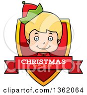 Clipart Of A Boy Christmas Elf Shield With A Christmas Season Banner Royalty Free Vector Illustration