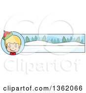 Clipart Of A Boy Christmas Elf And Winter Landscape Banner Royalty Free Vector Illustration