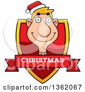 Clipart Of A Male Christmas Elf Shield With A Christmas Season Banner Royalty Free Vector Illustration