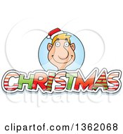 Clipart Of A Male Elf Over Patterned Christmas Text Royalty Free Vector Illustration