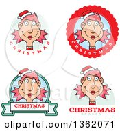Clipart Of Female Christmas Elf Badges Royalty Free Vector Illustration