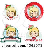 Clipart Of Girl Christmas Elf Badges Royalty Free Vector Illustration by Cory Thoman