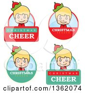 Clipart Of Boy Christmas Elf Badges Royalty Free Vector Illustration by Cory Thoman