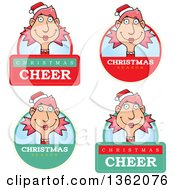 Clipart Of Female Christmas Elf Badges Royalty Free Vector Illustration by Cory Thoman