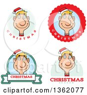 Clipart Of Male Christmas Elf Badges Royalty Free Vector Illustration by Cory Thoman