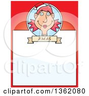 Clipart Of A Female Christmas Elf And Red Page With Text Space Royalty Free Vector Illustration