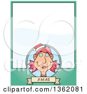 Clipart Of A Female Christmas Elf And Green Page With Text Space Royalty Free Vector Illustration