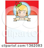 Clipart Of A Girl Christmas Elf And Red Page With Text Space Royalty Free Vector Illustration