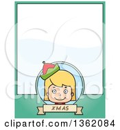 Clipart Of A Girl Christmas Elf And Green Page With Text Space Royalty Free Vector Illustration