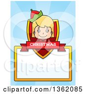 Clipart Of A Girl Christmas Elf Shield With A Christmas Season Banner And Blank Sign Over Blue Rays Royalty Free Vector Illustration