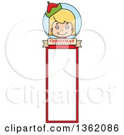 Clipart Of A Girl Christmas Elf Bookmark Design Royalty Free Vector Illustration