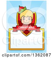 Clipart Of A Boy Christmas Elf Shield With A Christmas Season Banner And Blank Sign Over Blue Rays Royalty Free Vector Illustration