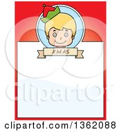 Clipart Of A Boy Christmas Elf And Red Page With Text Space Royalty Free Vector Illustration