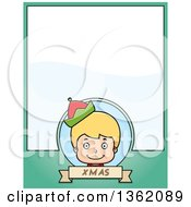 Clipart Of A Boy Christmas Elf And Green Page With Text Space Royalty Free Vector Illustration